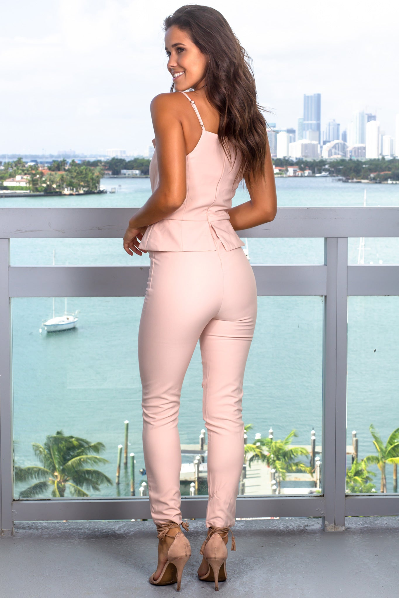 Blush Surplice Jumpsuit
