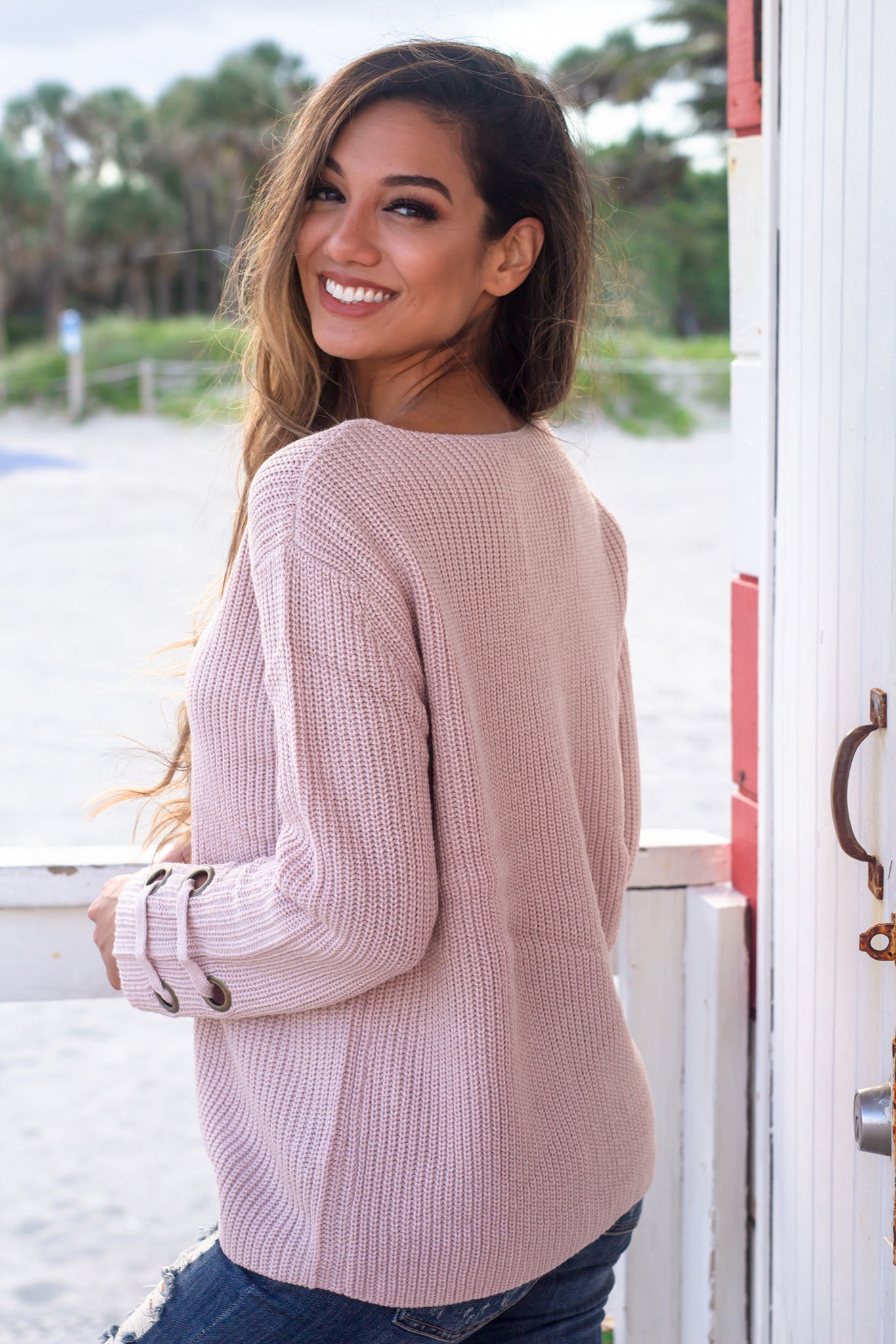 Blush Sweater with Gold Detail