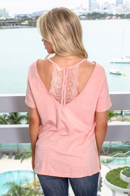 Blush Top with Back Lace Detail