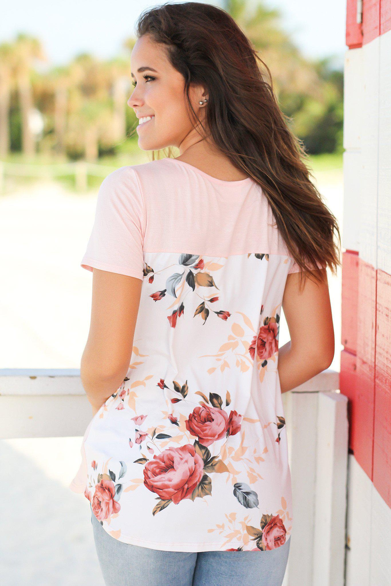 Blush Top with Floral Back