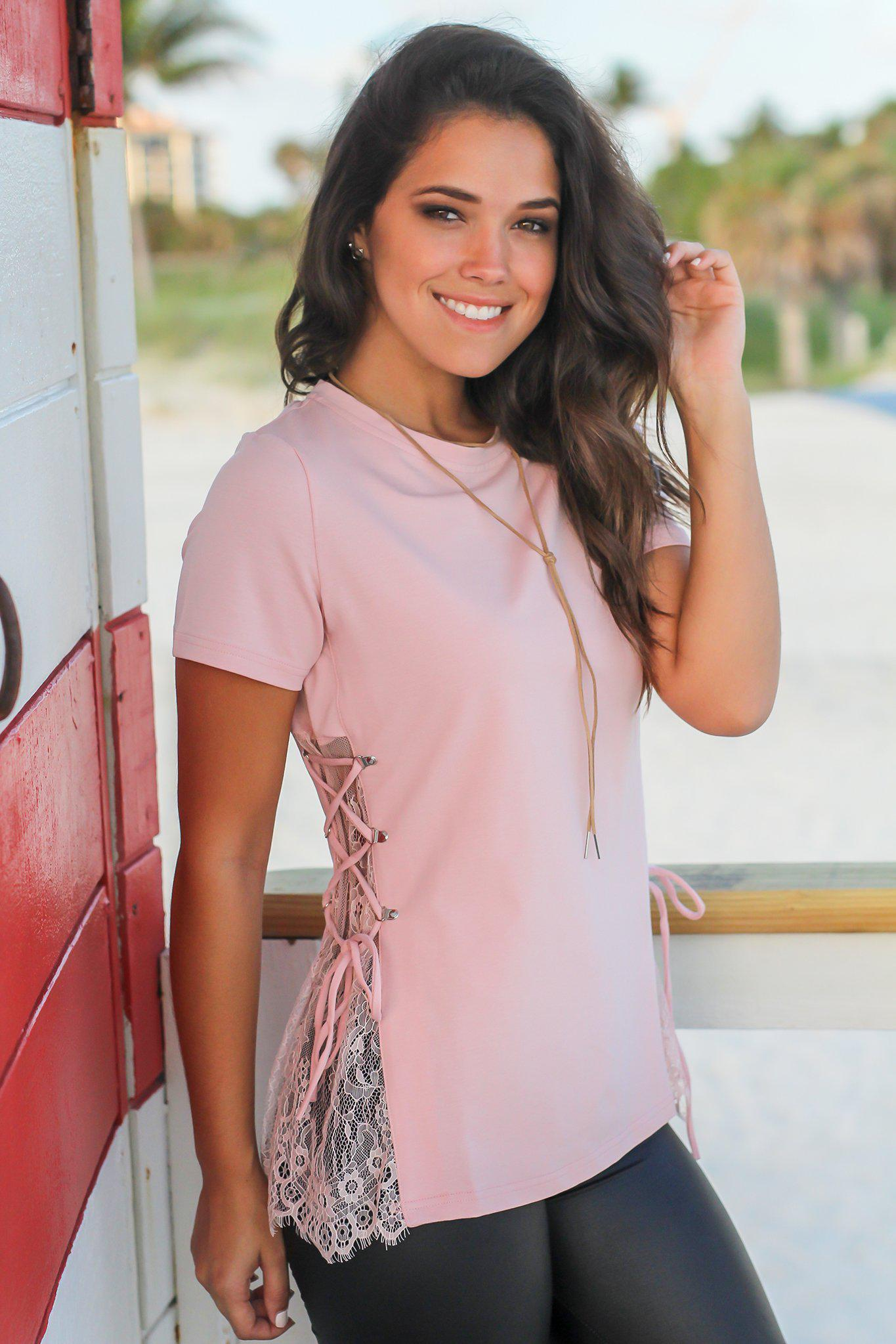 Blush Top with Lace Up Sides
