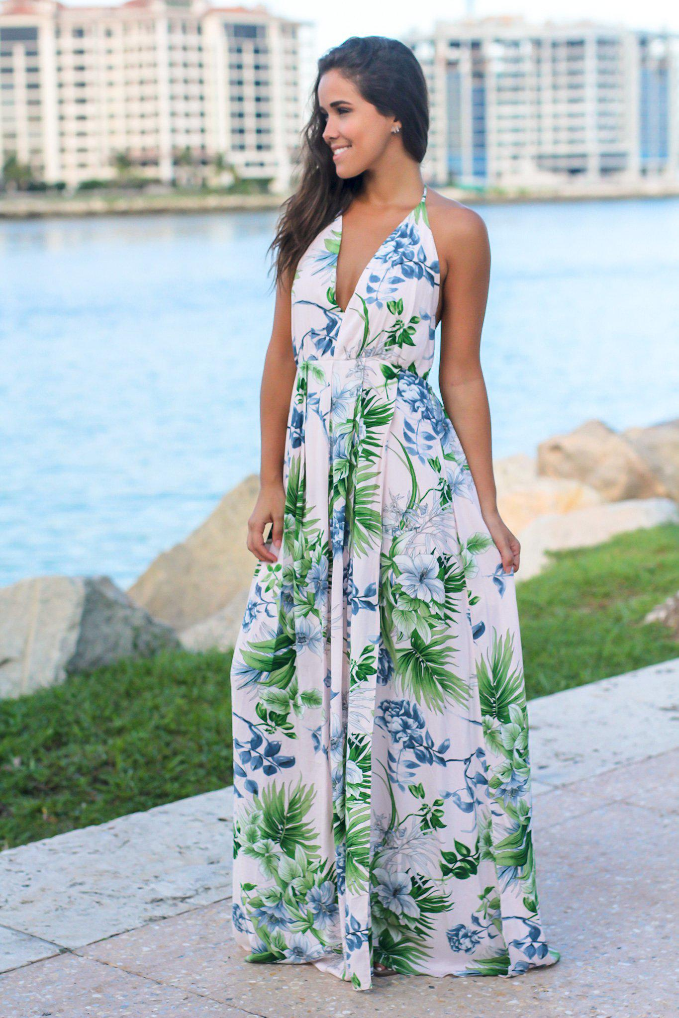 Blush Tropical Halter Neck Maxi Dress