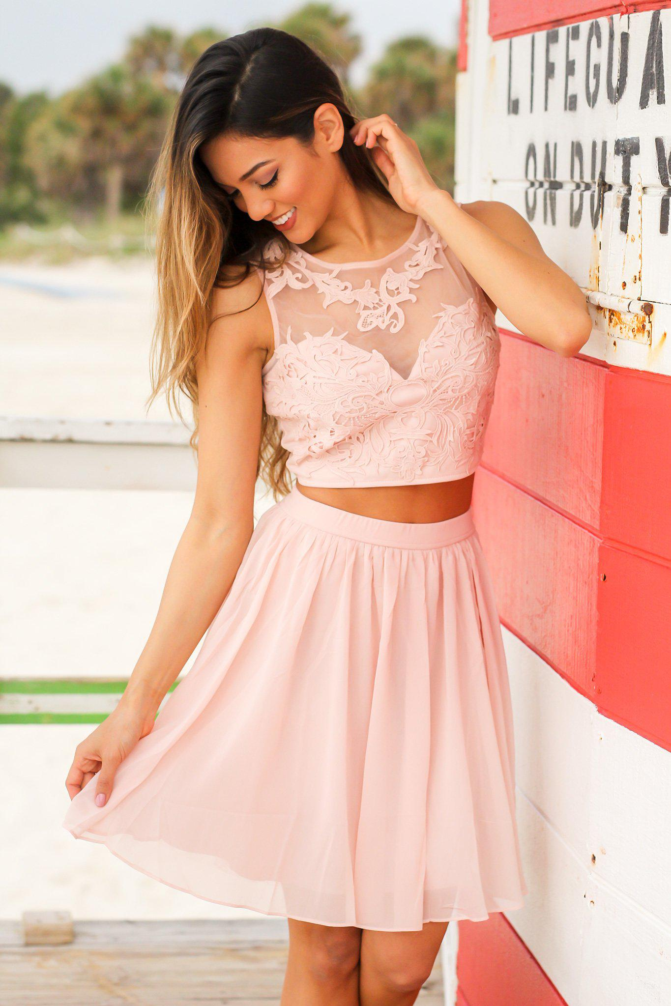Blush Two Piece Set with Mesh Embroidered Top