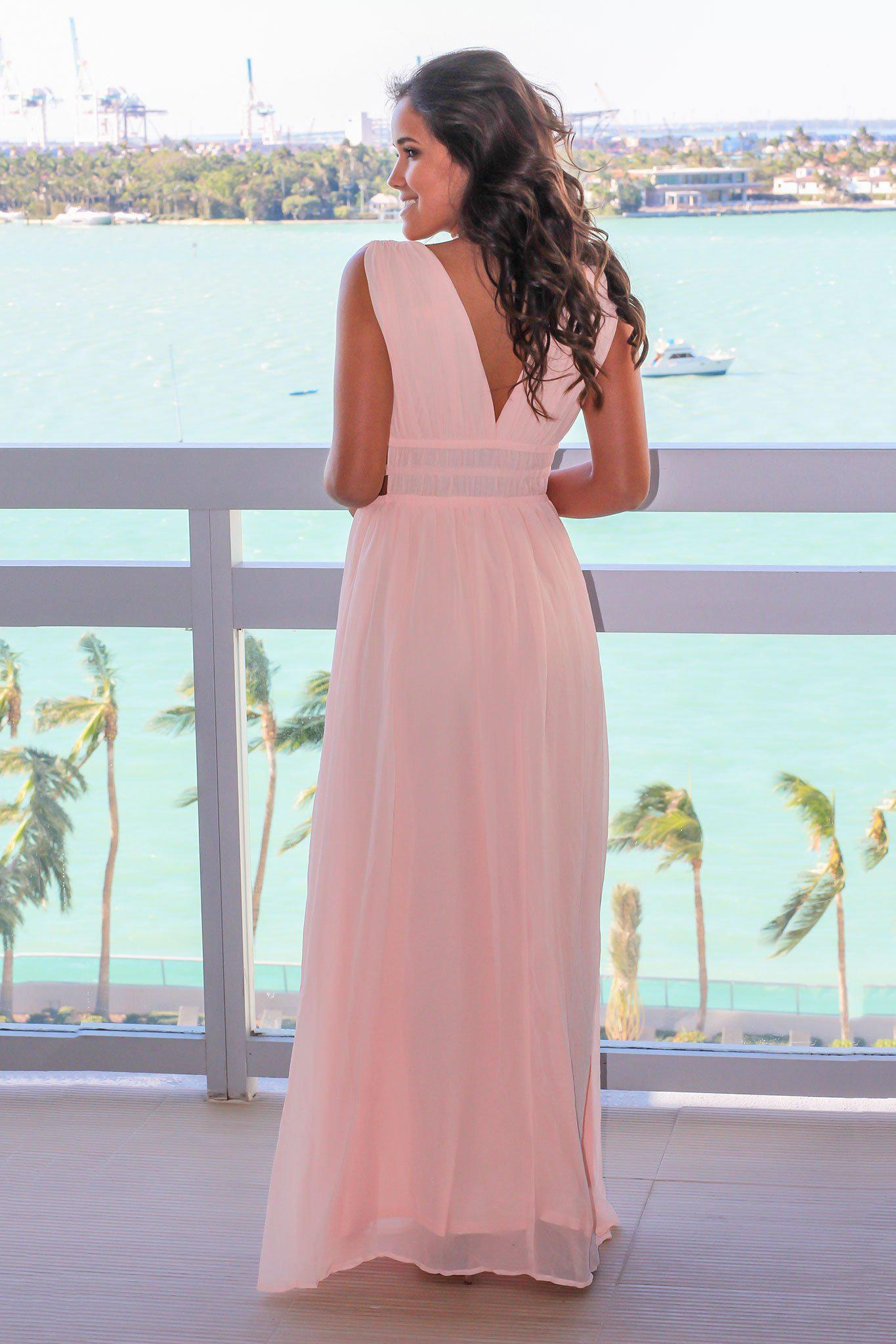 Blush V-Neck Maxi Dress