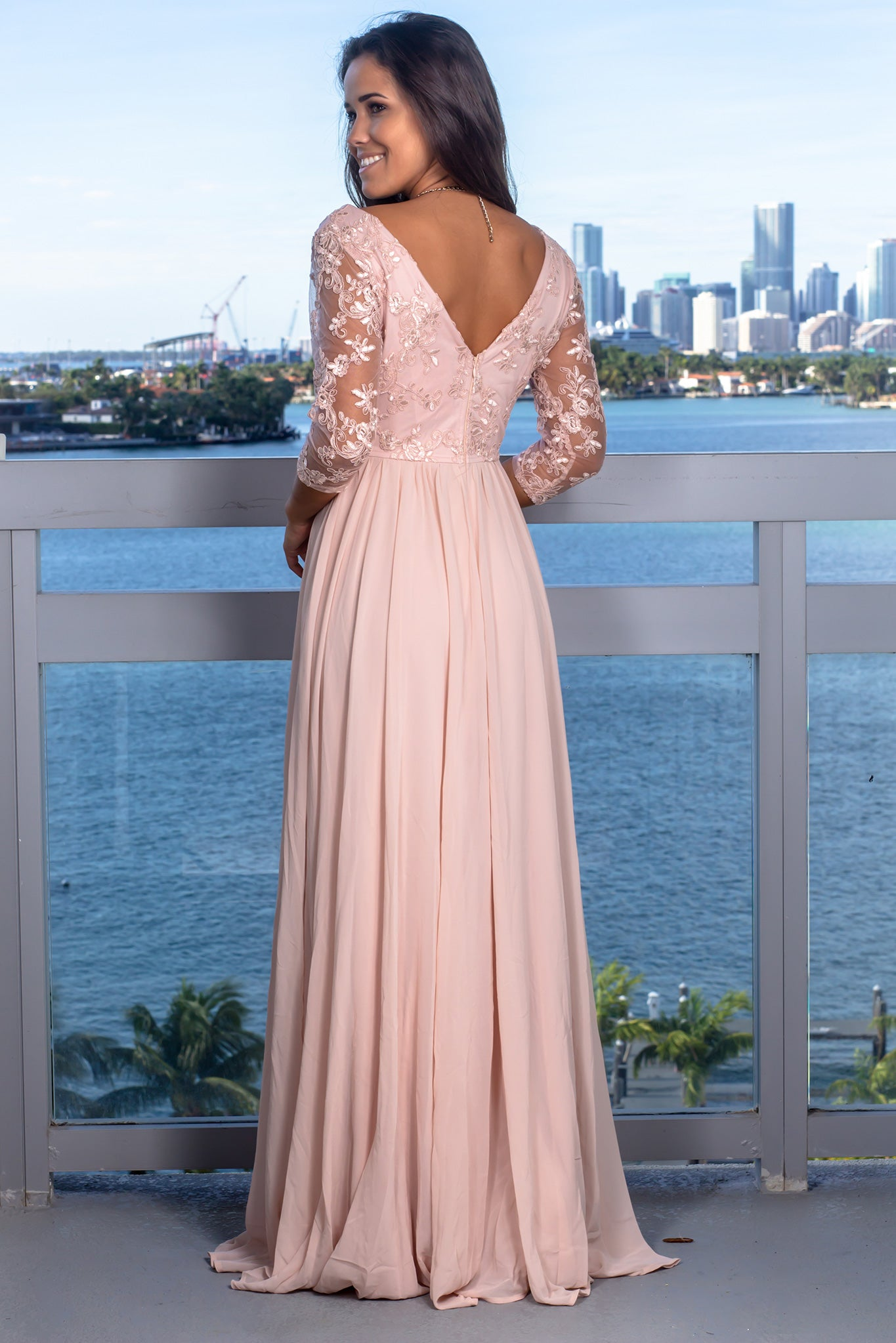 Blush V-Neck Maxi Dress with 3/4 Sleeves