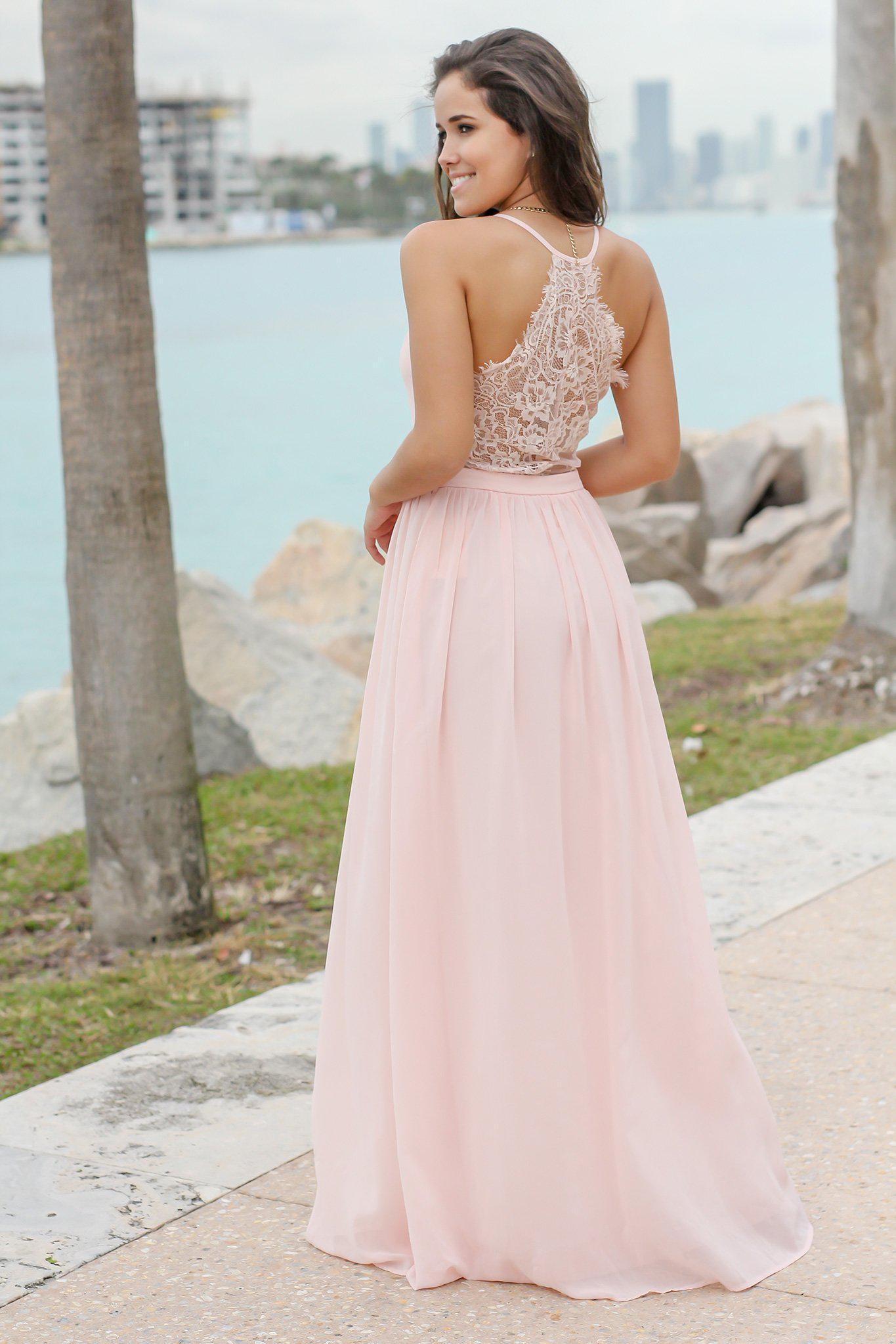 Blush V-Neck Maxi Dress with Lace Back