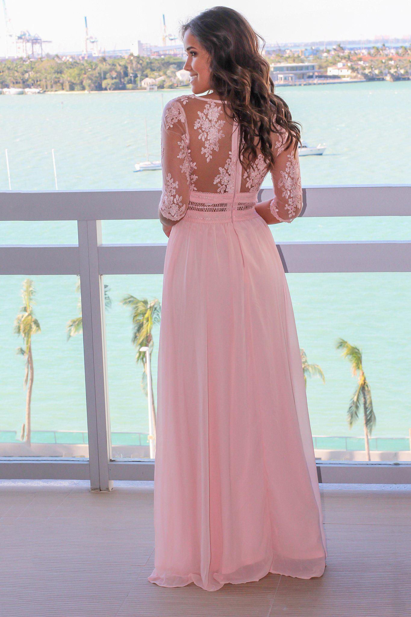 Blush V-Neck Maxi Dress with Mesh Embroidered Sleeves