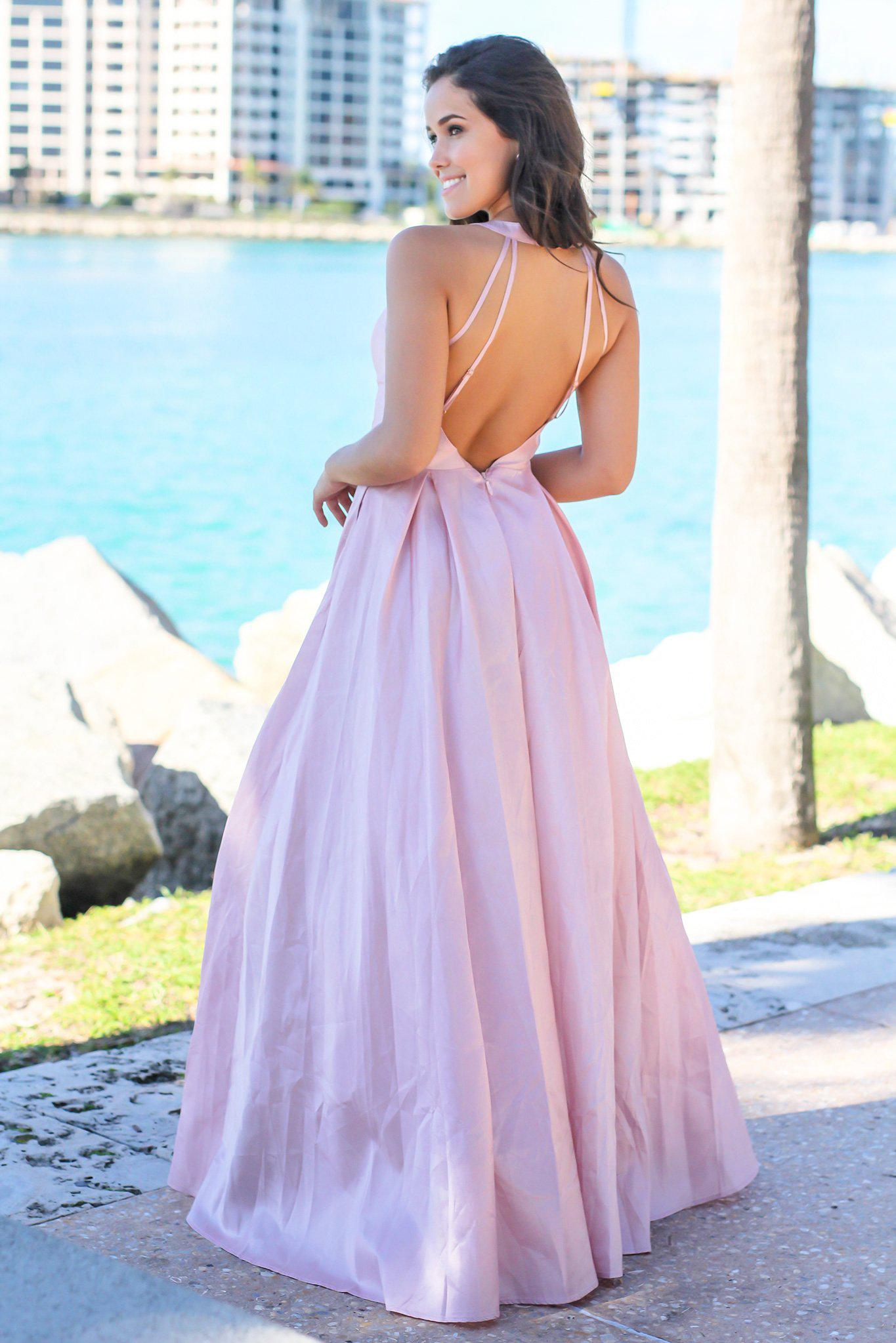 Blush V-Neck Maxi Dress with Open Back