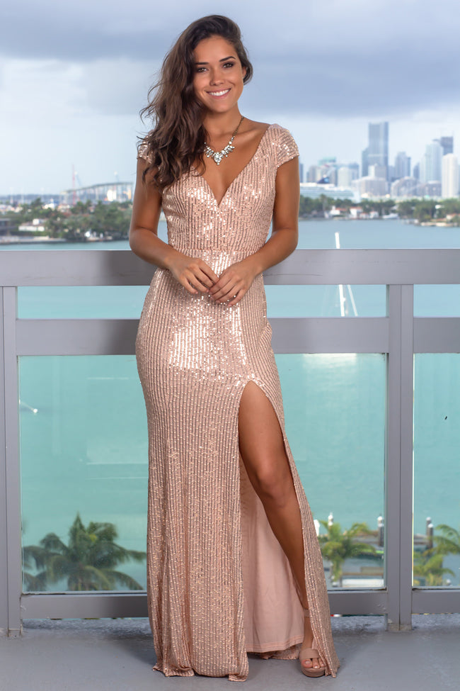 Blush V-Neck Sequin Maxi Dress with Side Slit