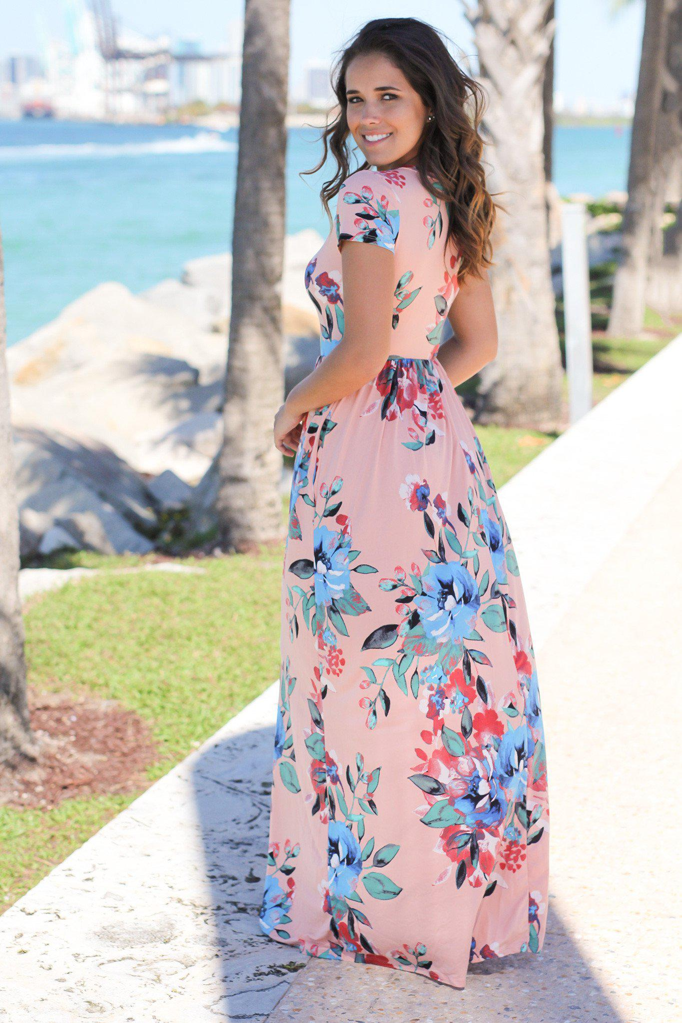 Blush and Blue Floral Maxi Dress with Short Sleeves