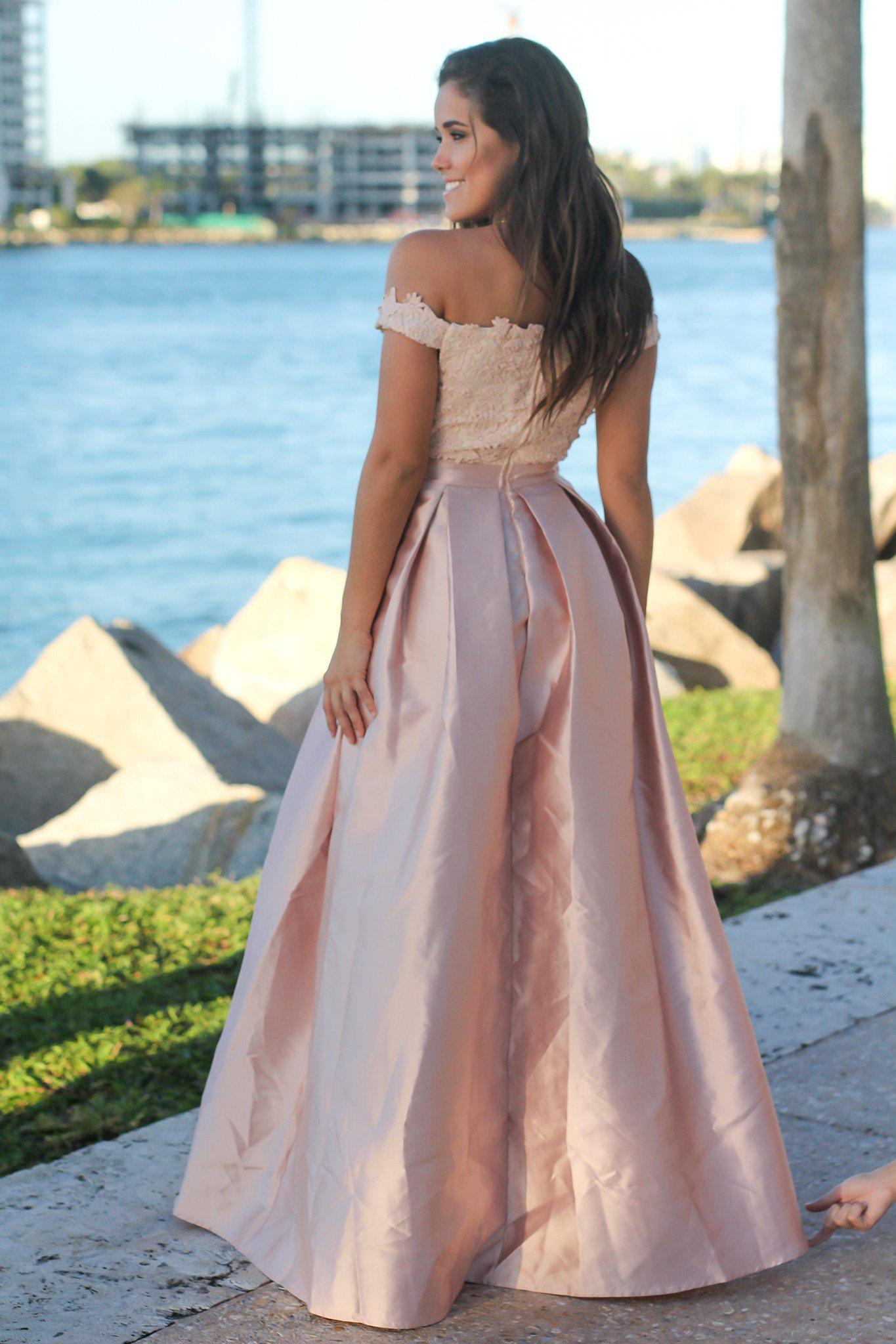 Blush and Cream Crochet Top Maxi Dress