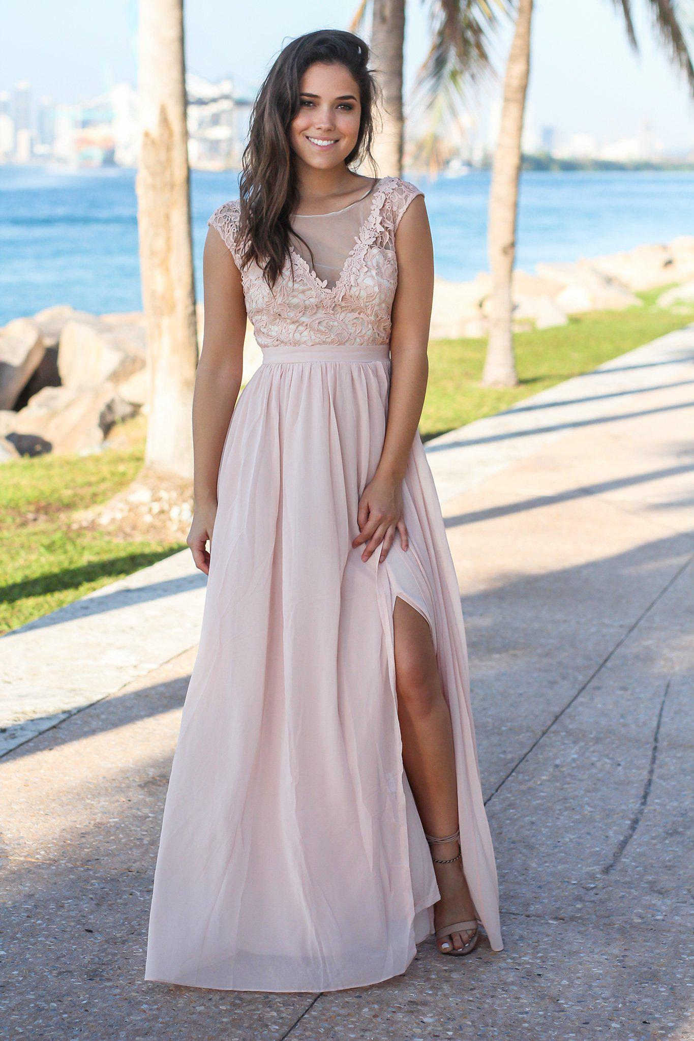 Blush and Cream Maxi Dress with Crochet Top and Tulle Back