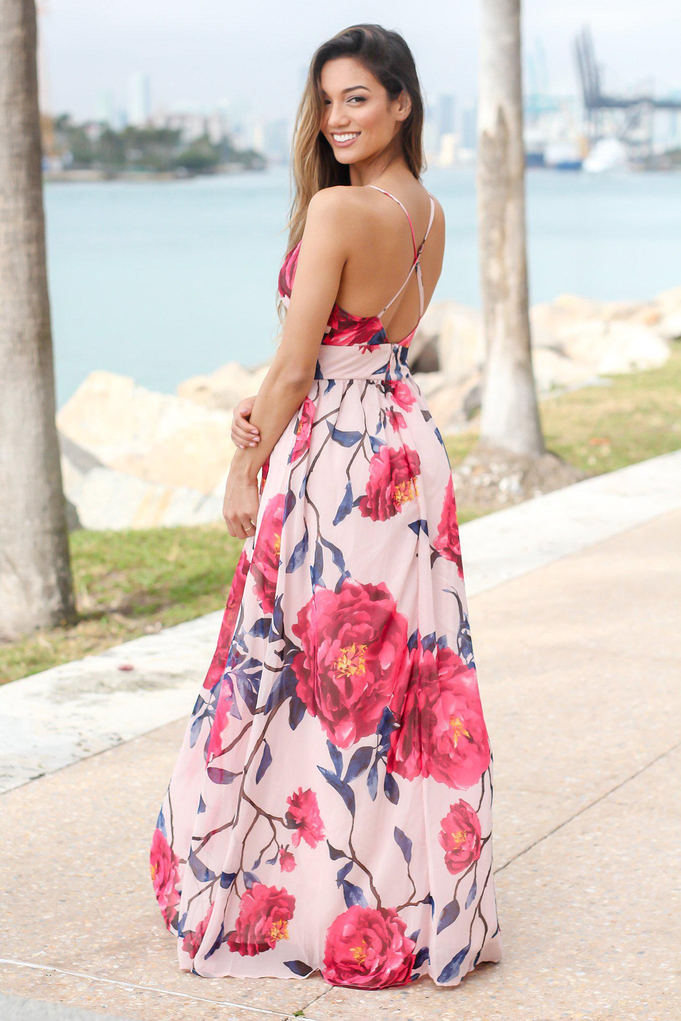 Blush and Fuchsia Floral Maxi Dress with Criss Cross Back