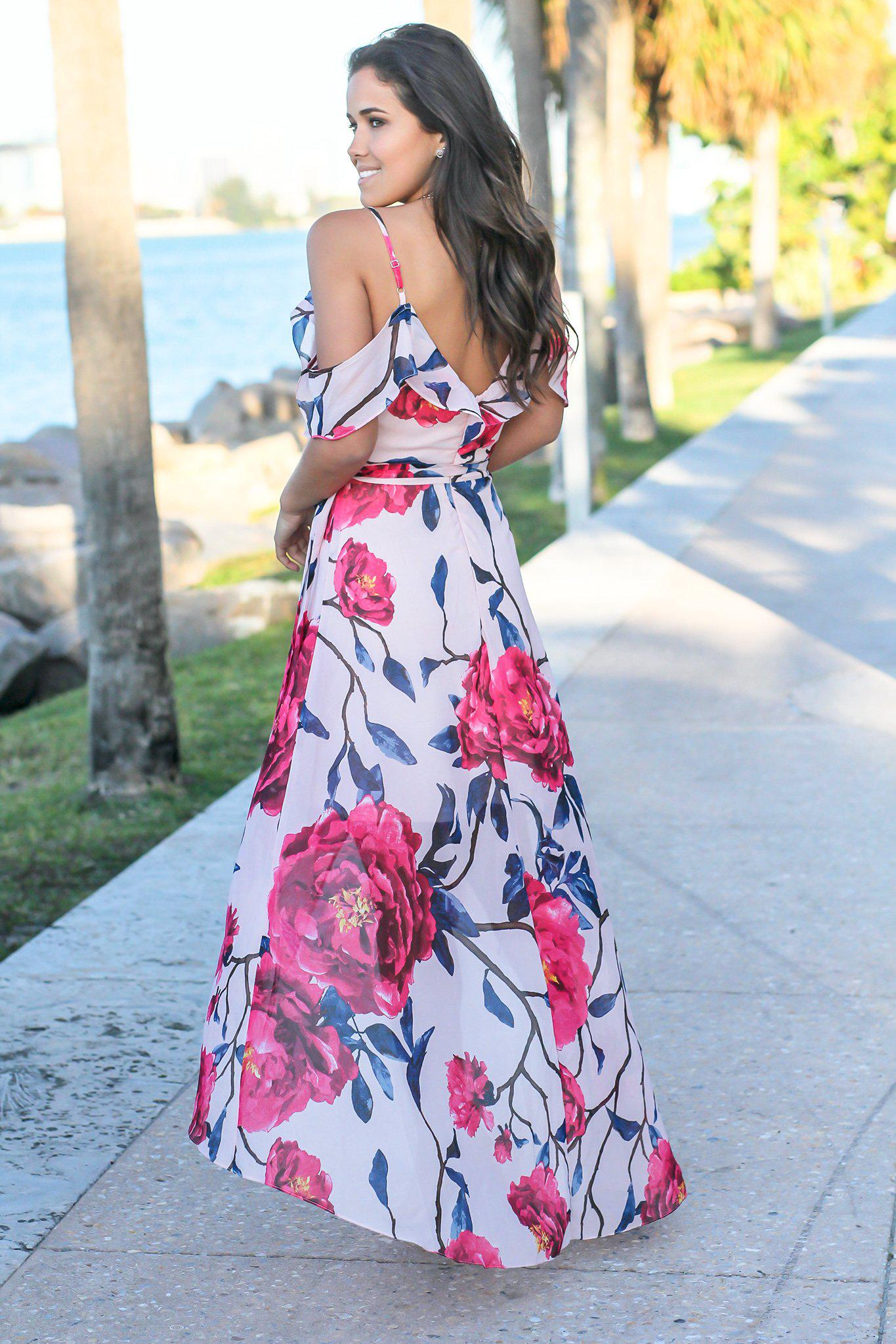 Blush and Fuchsia Floral Off Shoulder Wrap Dress