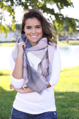 Blush and Gray Blanket Scarf