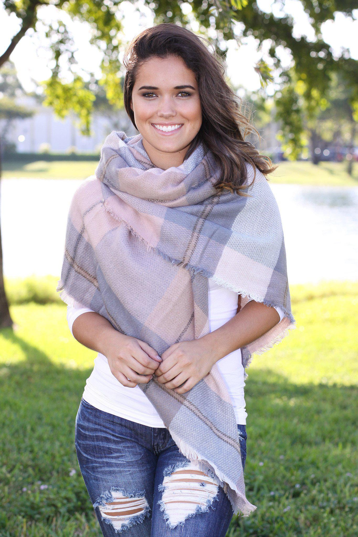blush and gray winter scarf