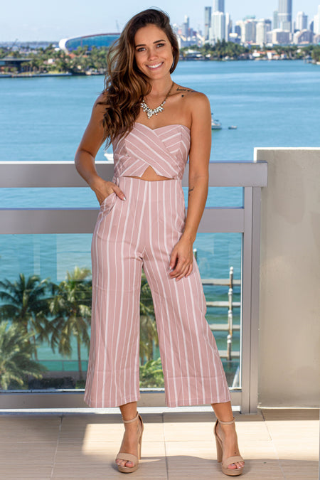 Blush and Ivory Strapless Jumpsuit