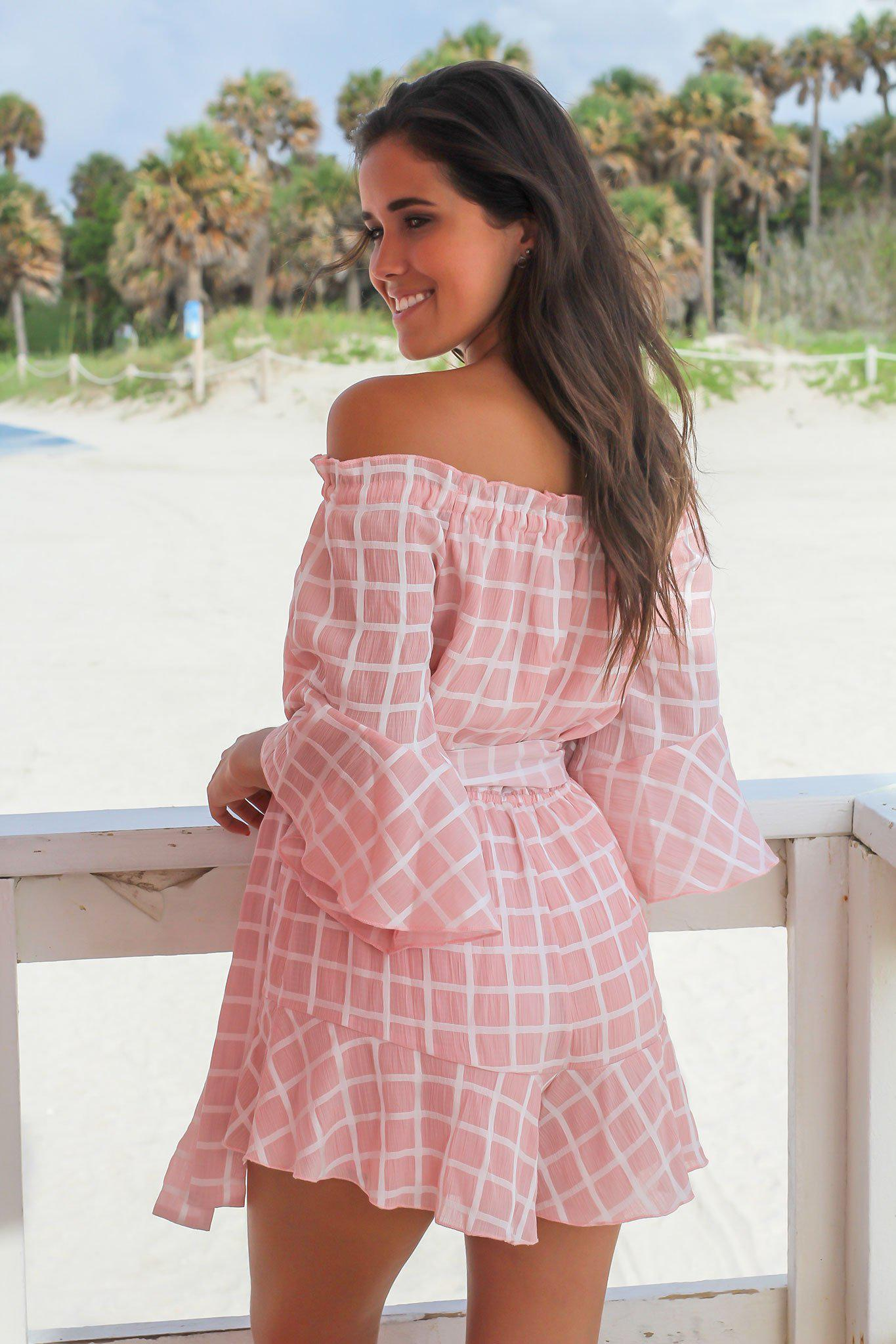 Blush and White Checkered Romper
