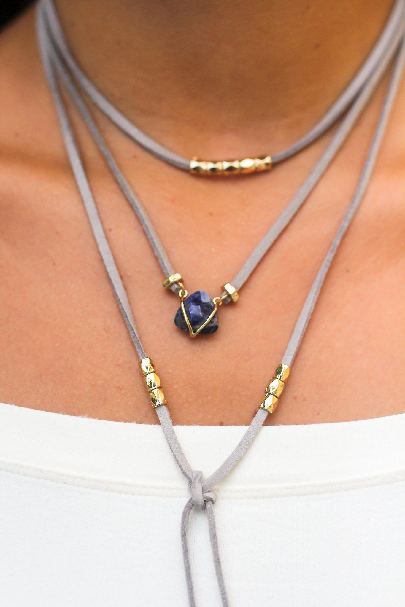 Boho Gray and Gold Choker with Navy Stone