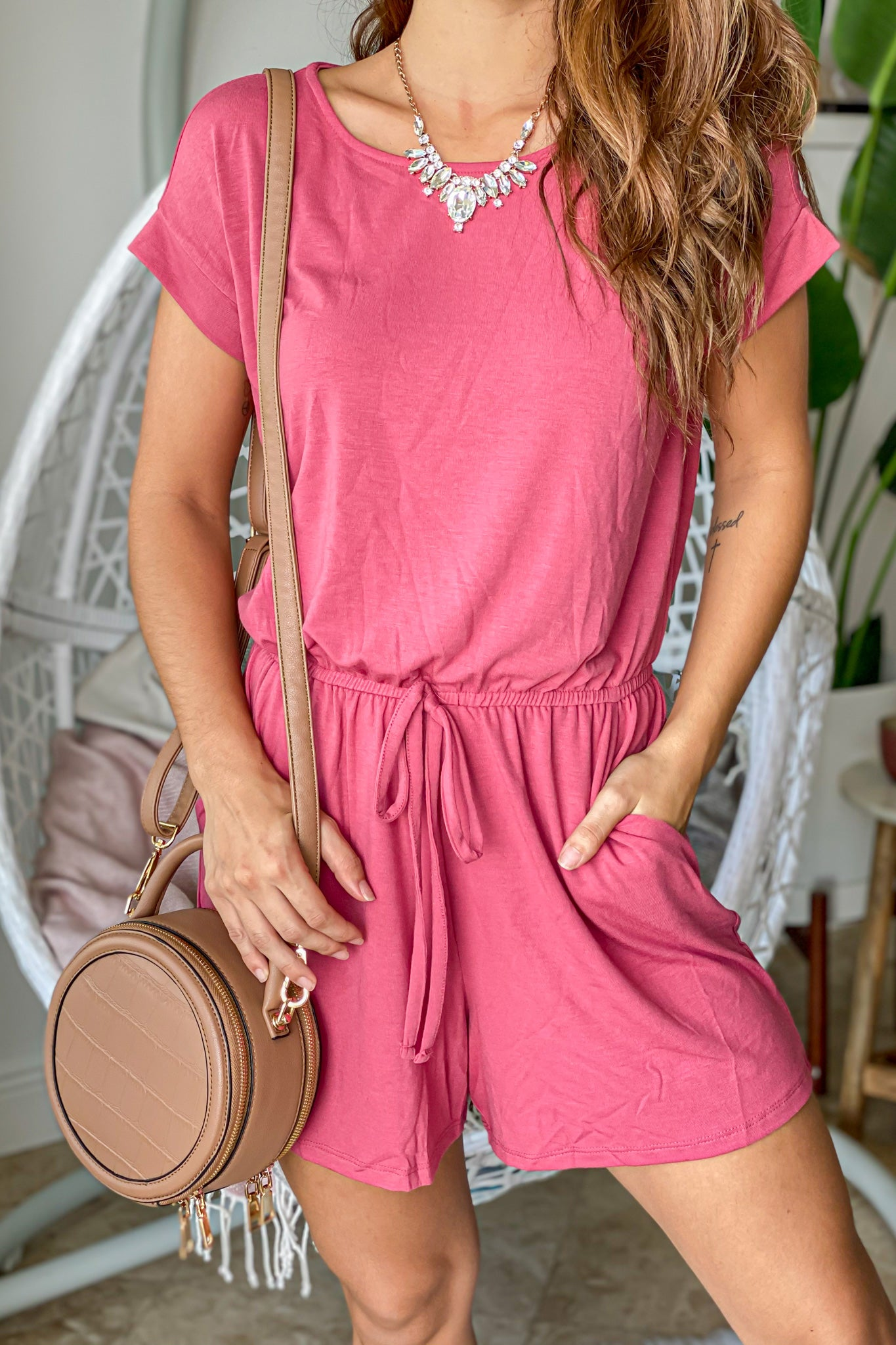 Rose Tie Waist Romper with Pockets