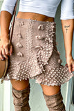Coffee Pom Pom Skirt