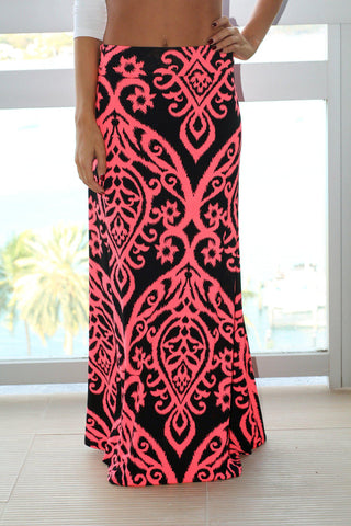 Neon Coral Printed Maxi Skirt