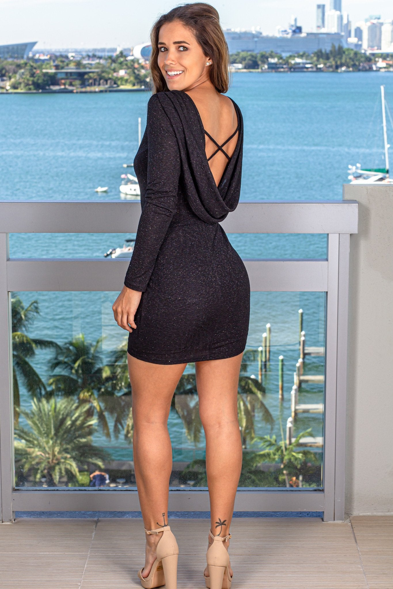 Black Shimmer Short Dress with Draped Back