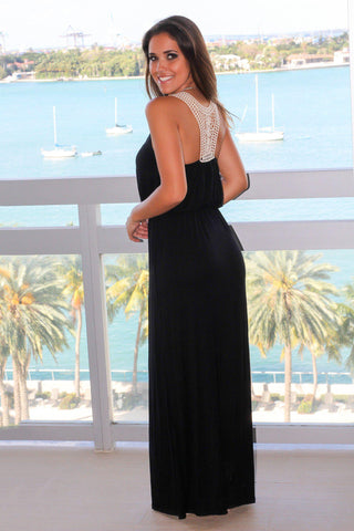 Black Maxi Dress with Floral Crochet Back