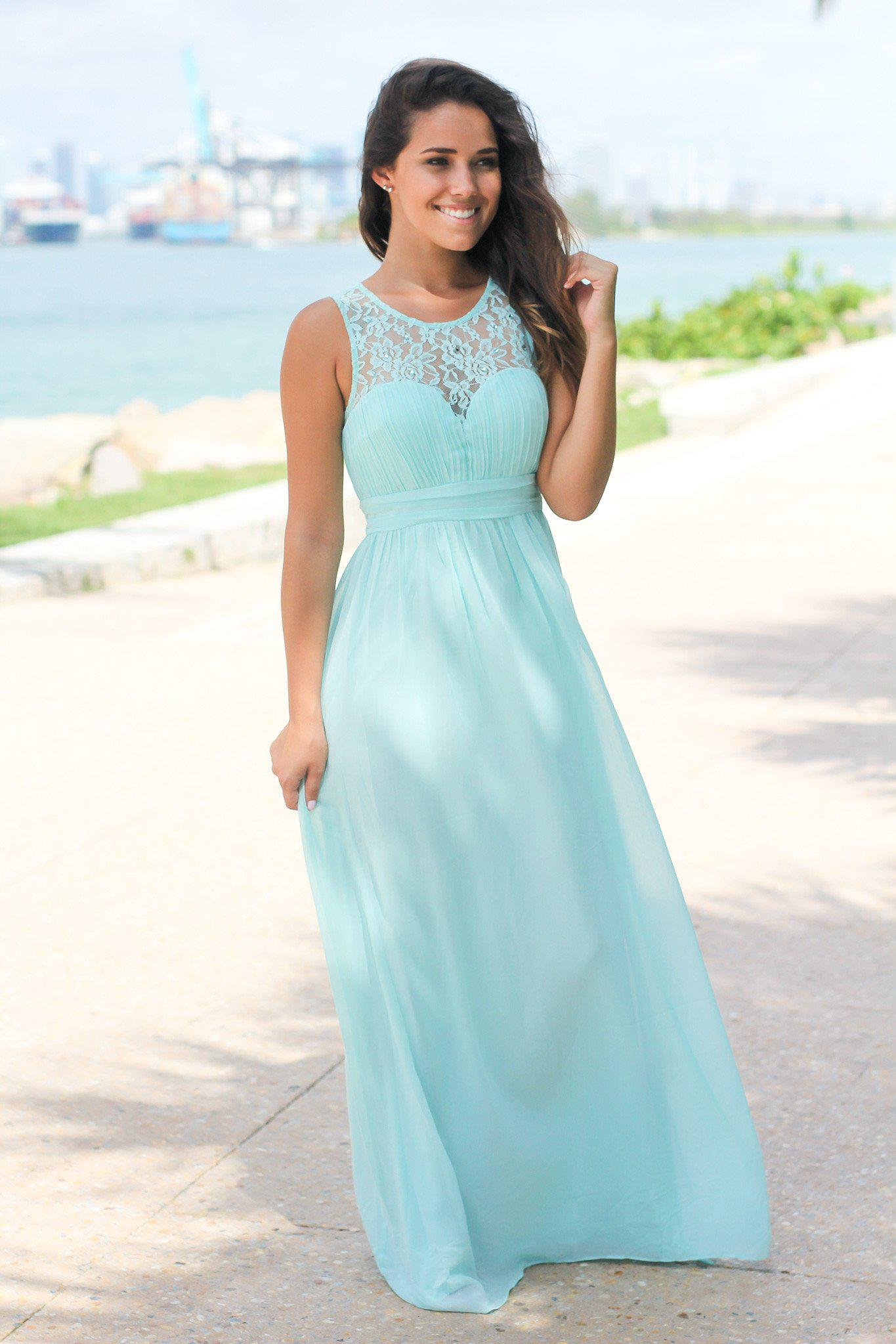 Mint Maxi Dress with Pleated Lace Top | Beautiful Dresses – Saved by ...