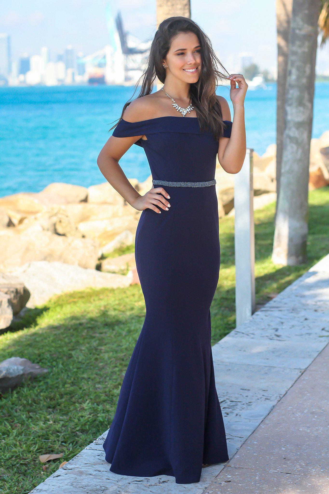 a2e513a2e096 Navy Off Shoulder Maxi Dress with Waist Detail