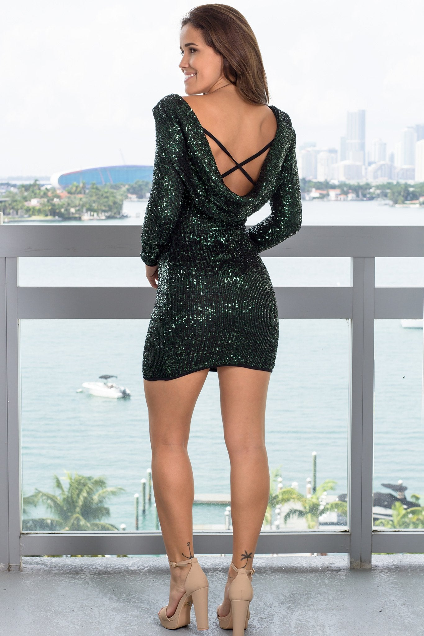 Hunter Green Sequined Short Dress with Open Back