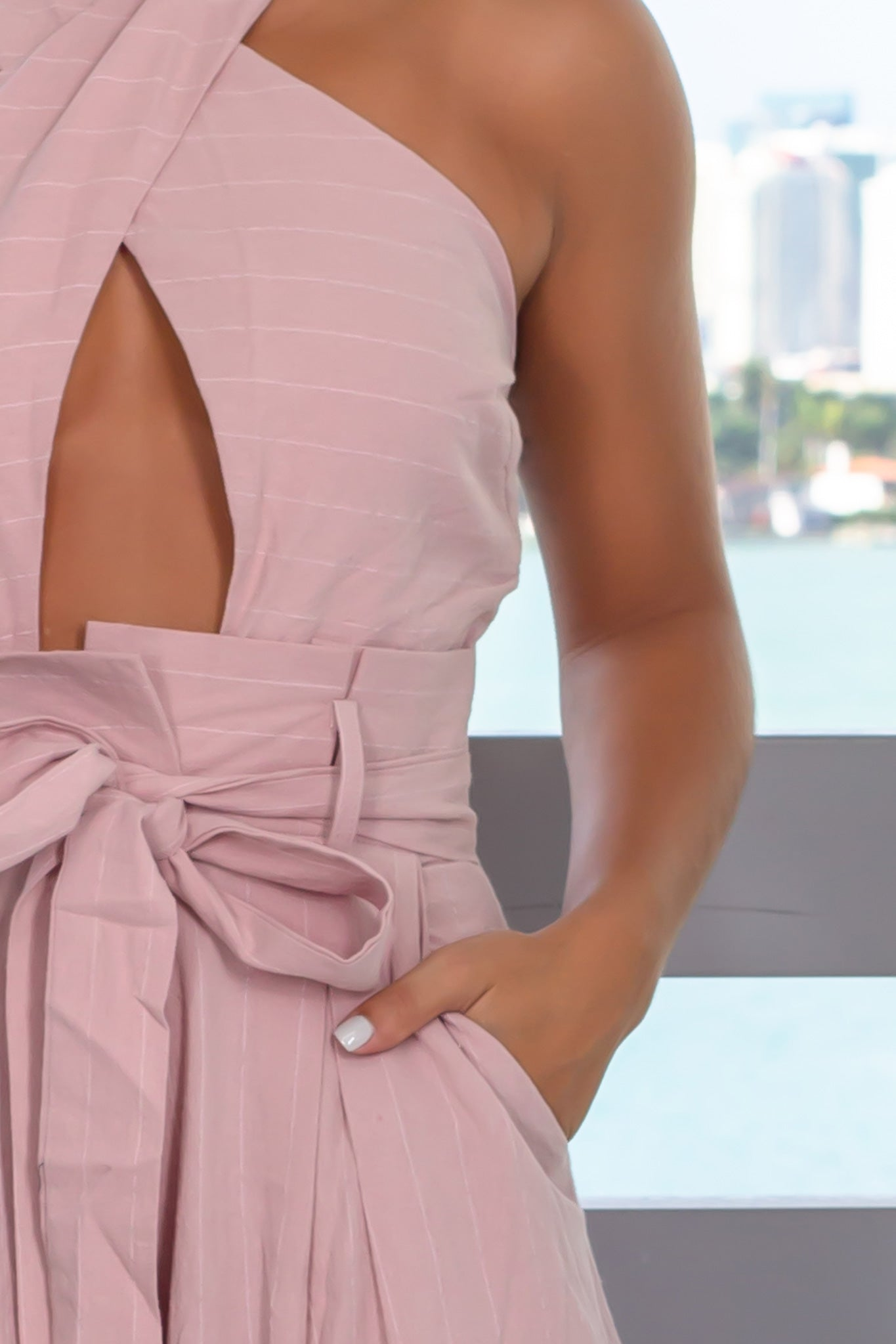 Pink Halter Neck Jumpsuit