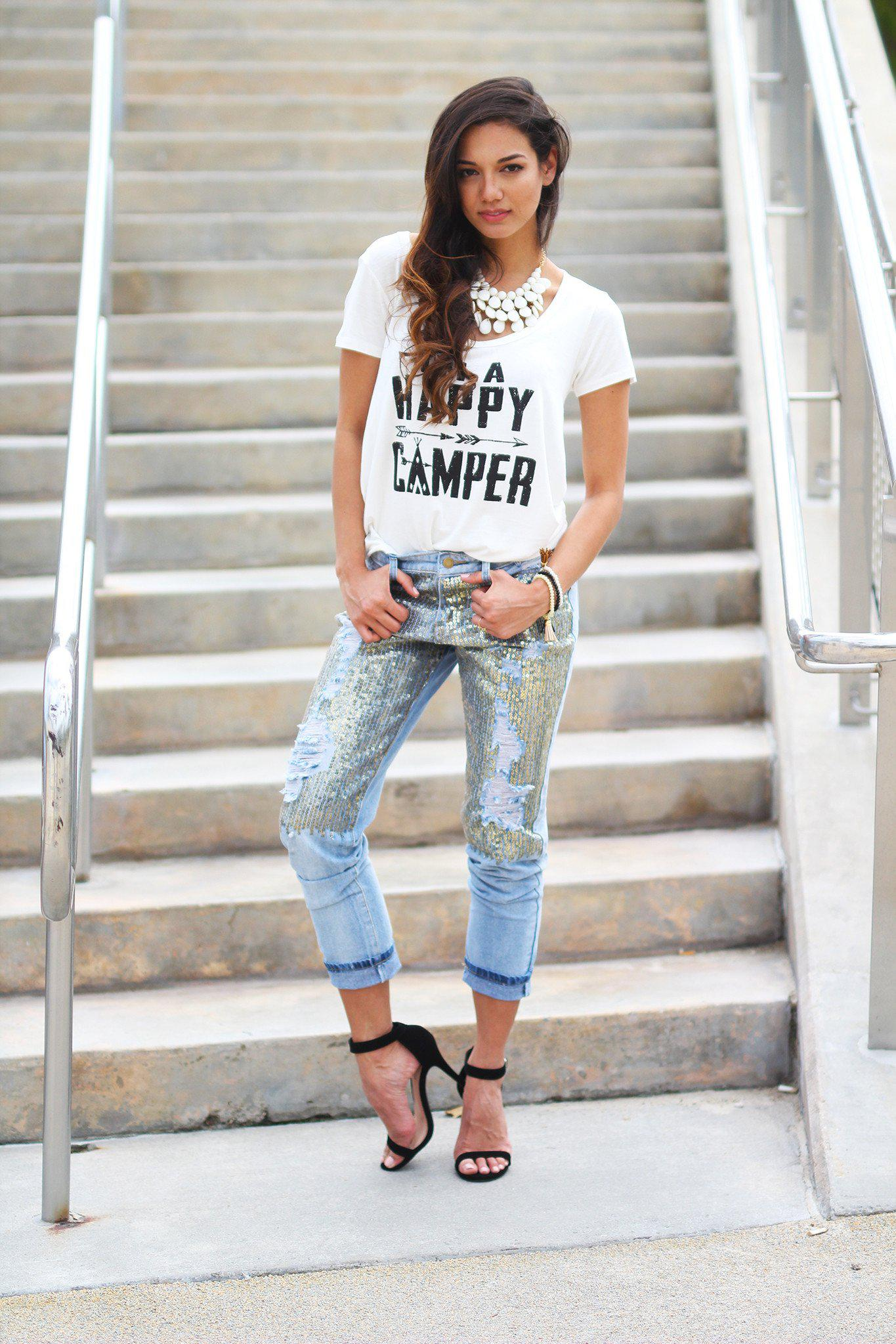 Boyfriend Sequins Denim Capris