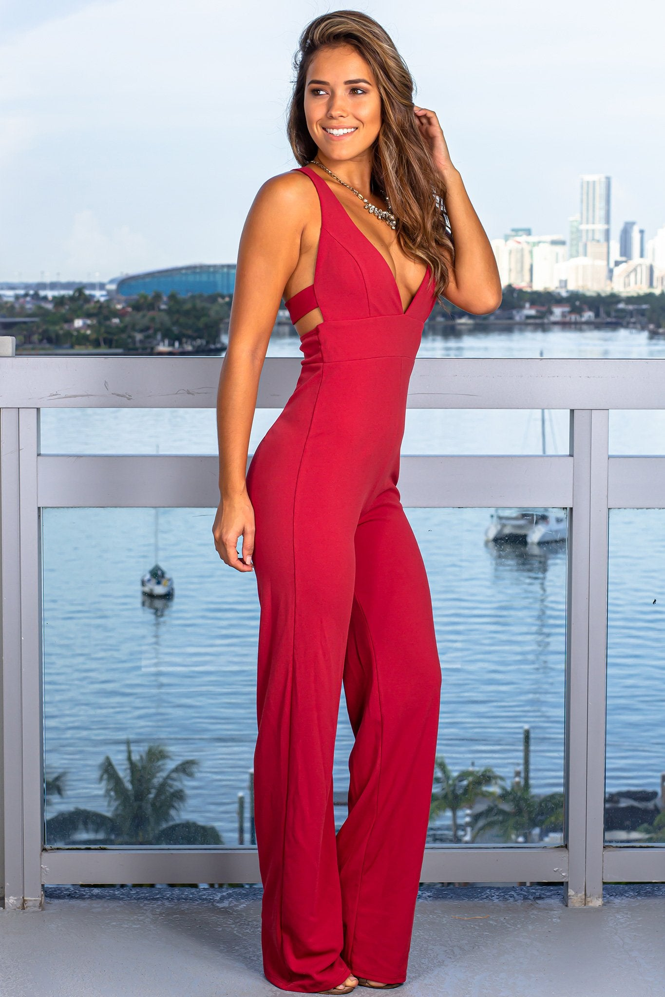 Brick V-Neck Jumpsuit