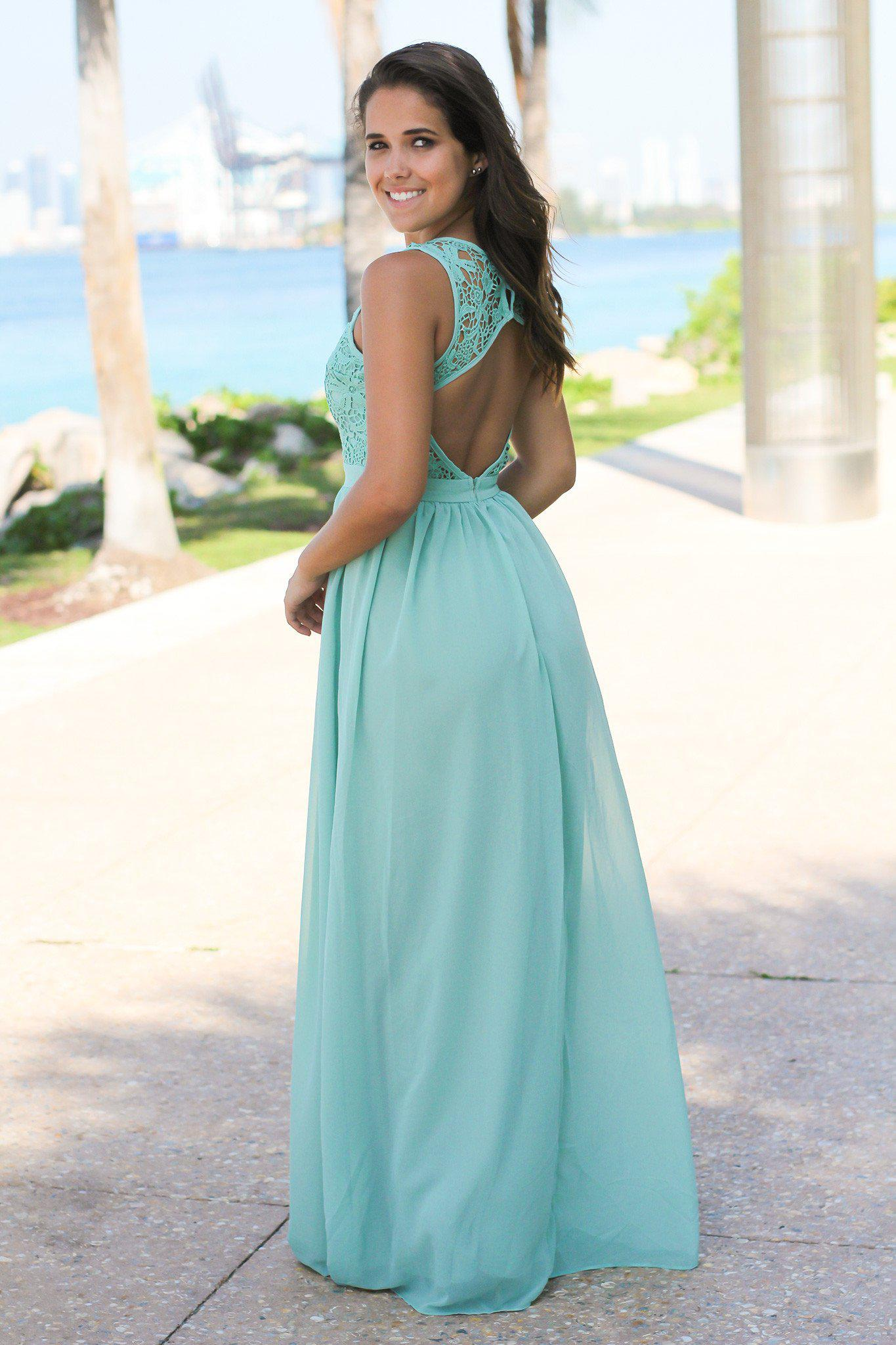 Dusty Mint Crochet Maxi Dress with Open Back | Bridesmaid Dresses ...