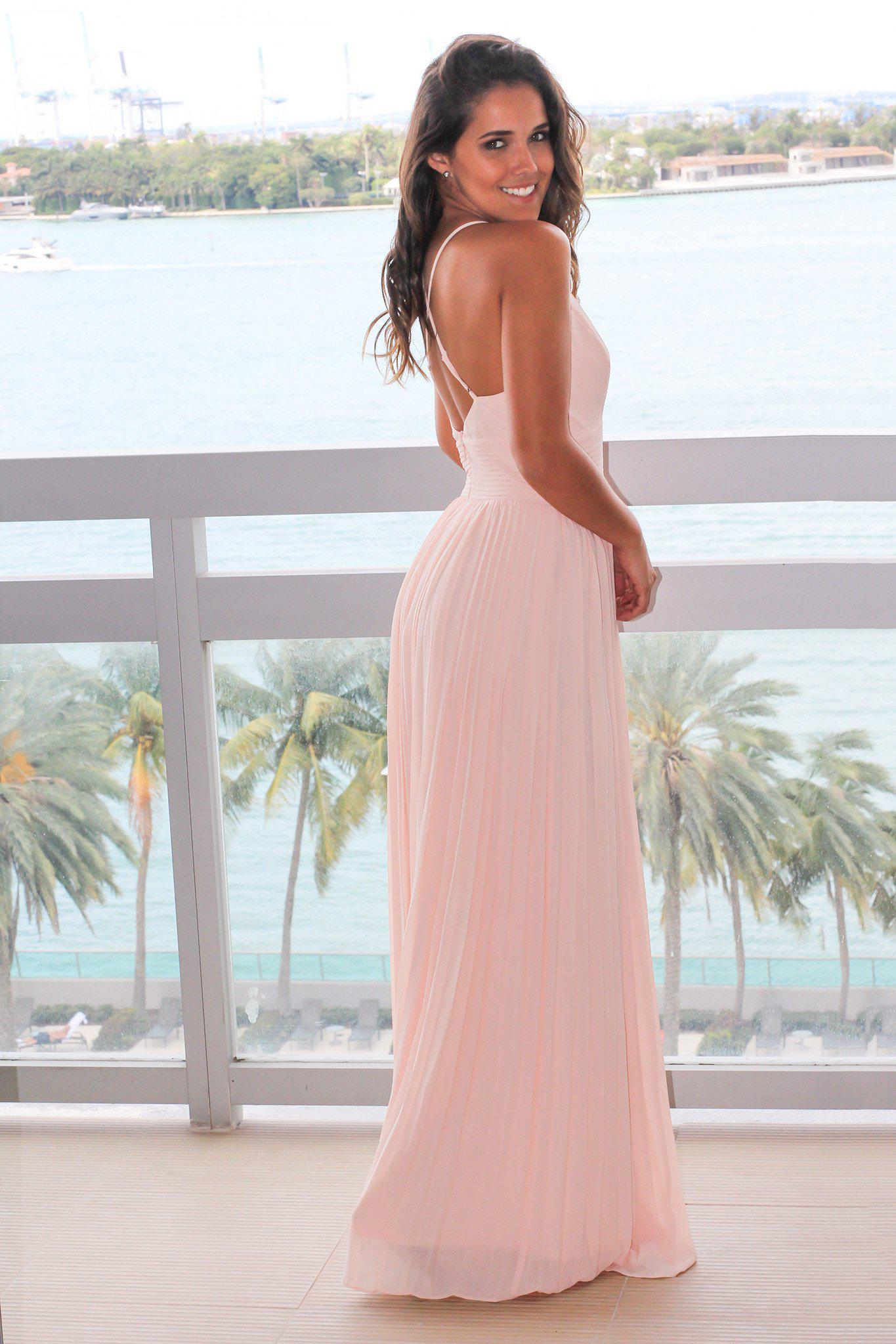 Blush pleated maxi dress with criss cross back maxi dresses bridesmaid dresses ombrellifo Images