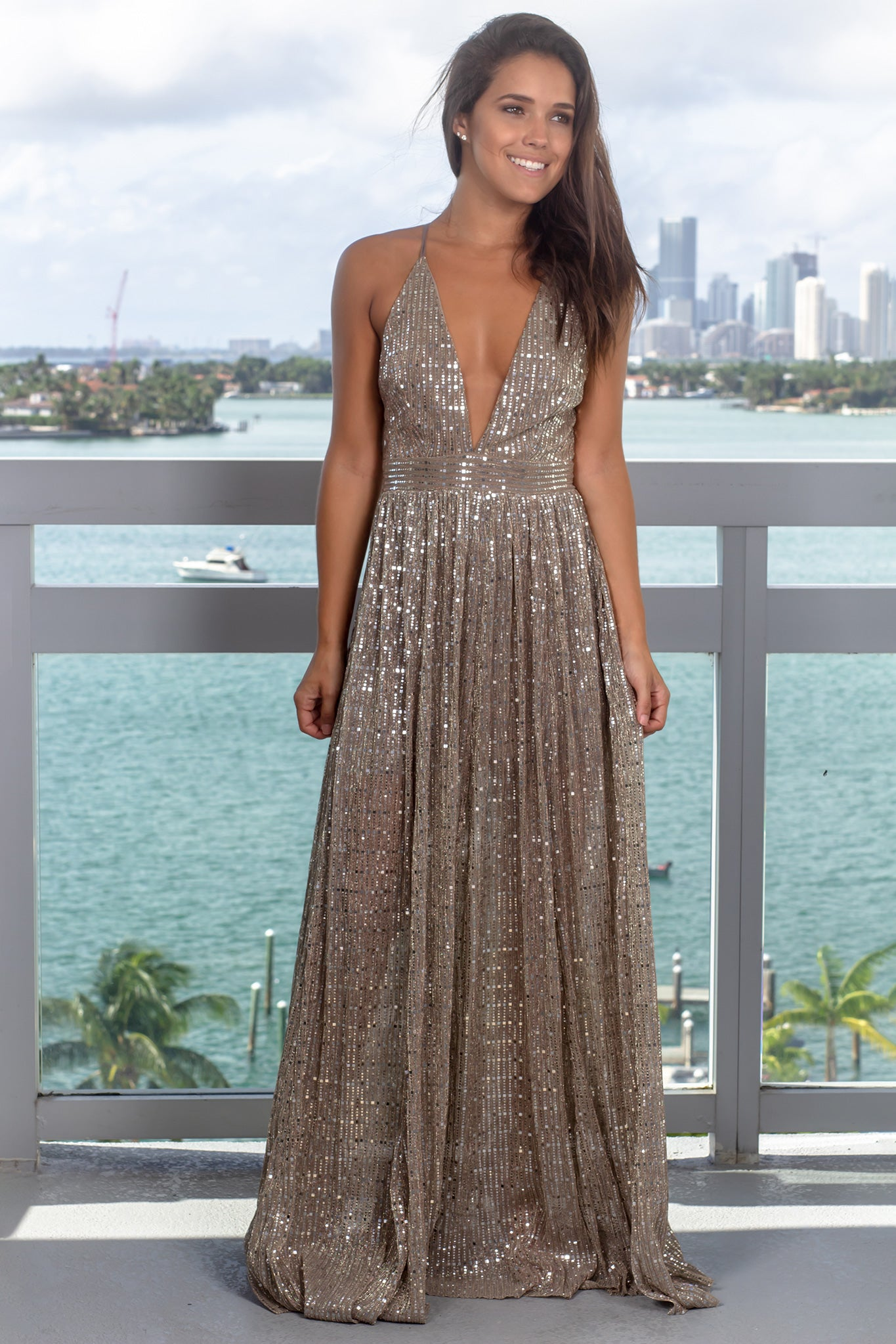 Bronze Sequin Maxi Dress with Criss Cross Back