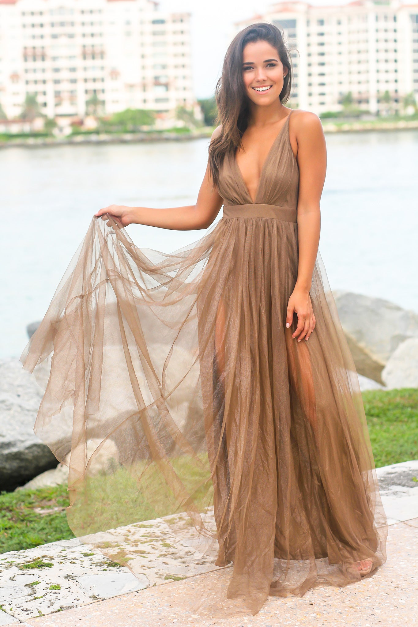 Bronze Tulle Maxi Dress