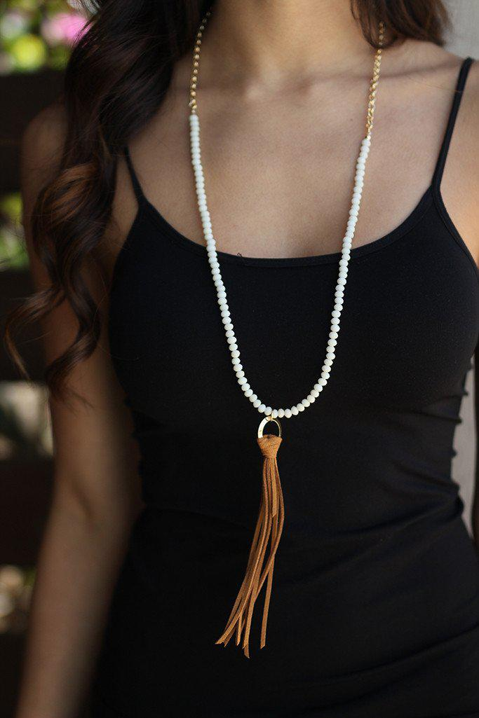 White And Brown Beaded Tassel Necklace