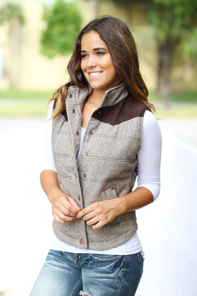 Brown Button Vest