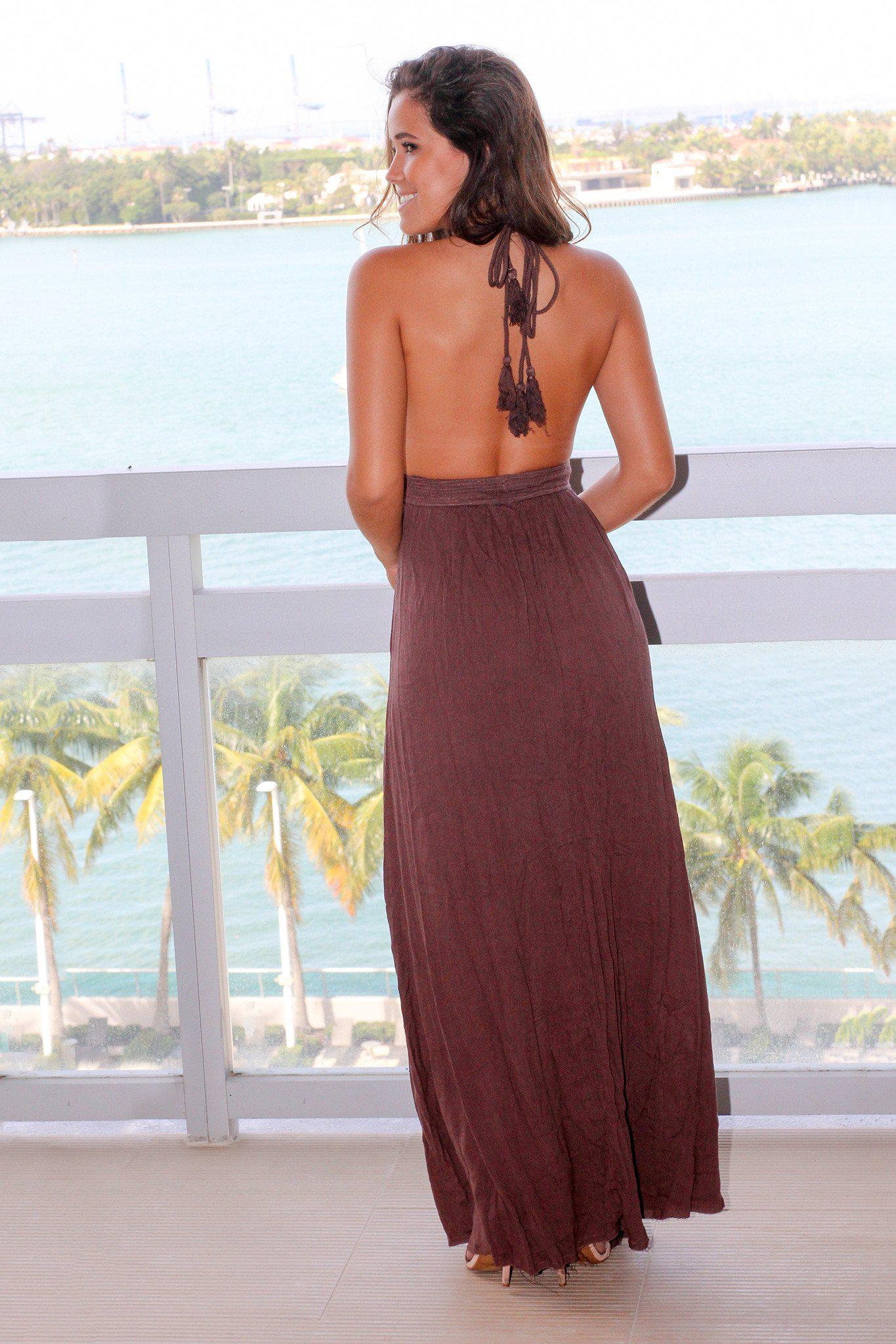 Brown Crochet Halter Neck Maxi Dress