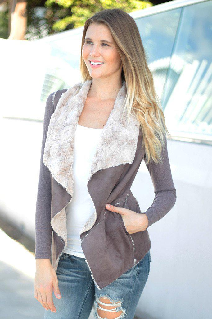 Brown Faux Fur Cardigan