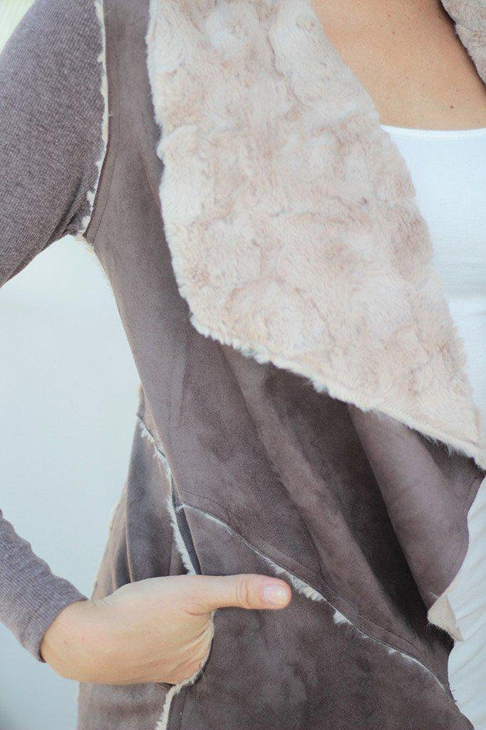 brown open front cardigan