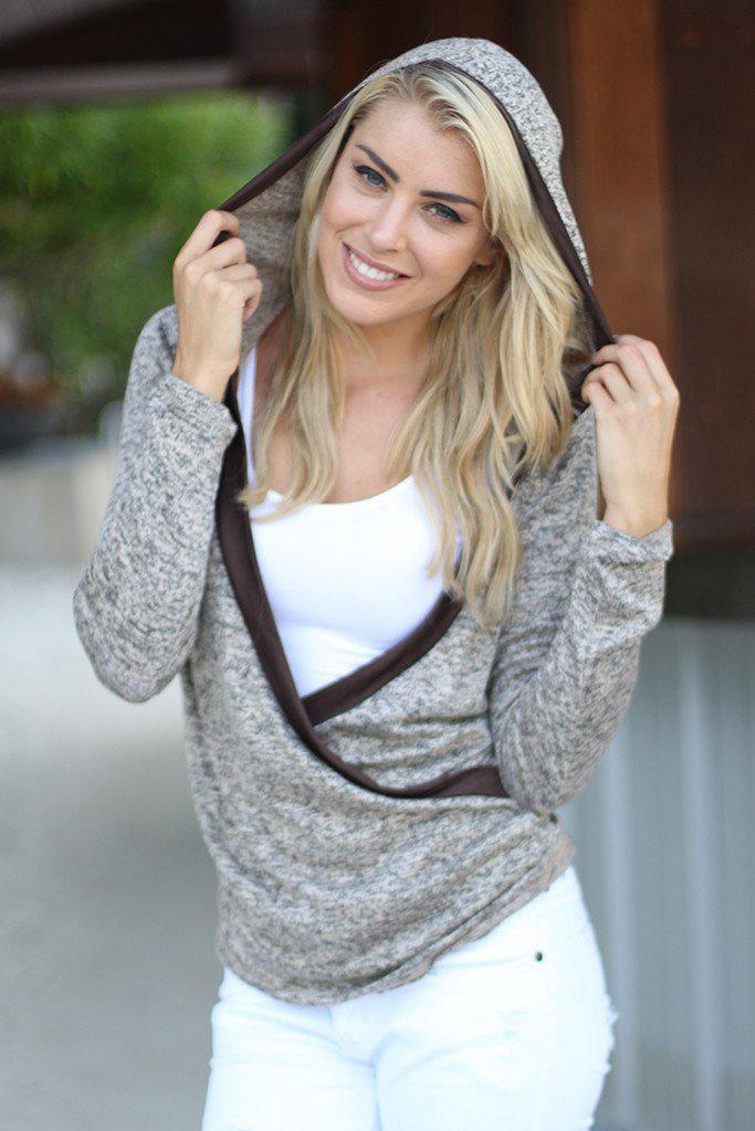 brown sweater with hood