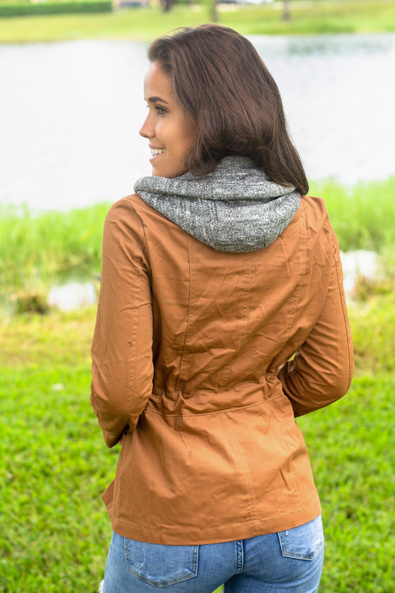 Brown Jacket with Gray Hood
