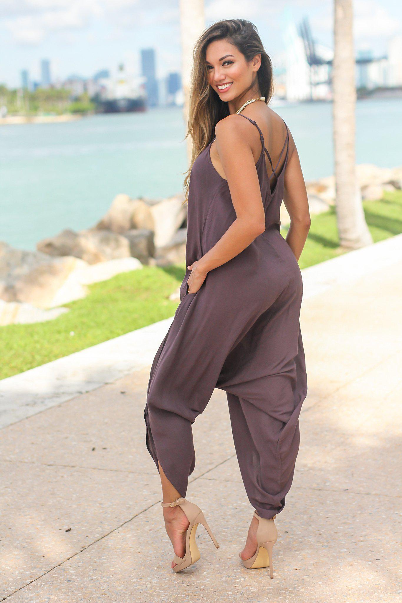 Brown Jumpsuit with Criss Cross Back