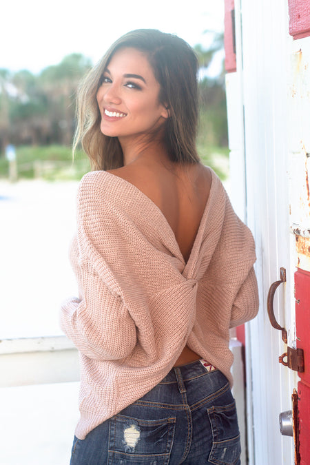 Brown Knit Sweater with Twist Detail