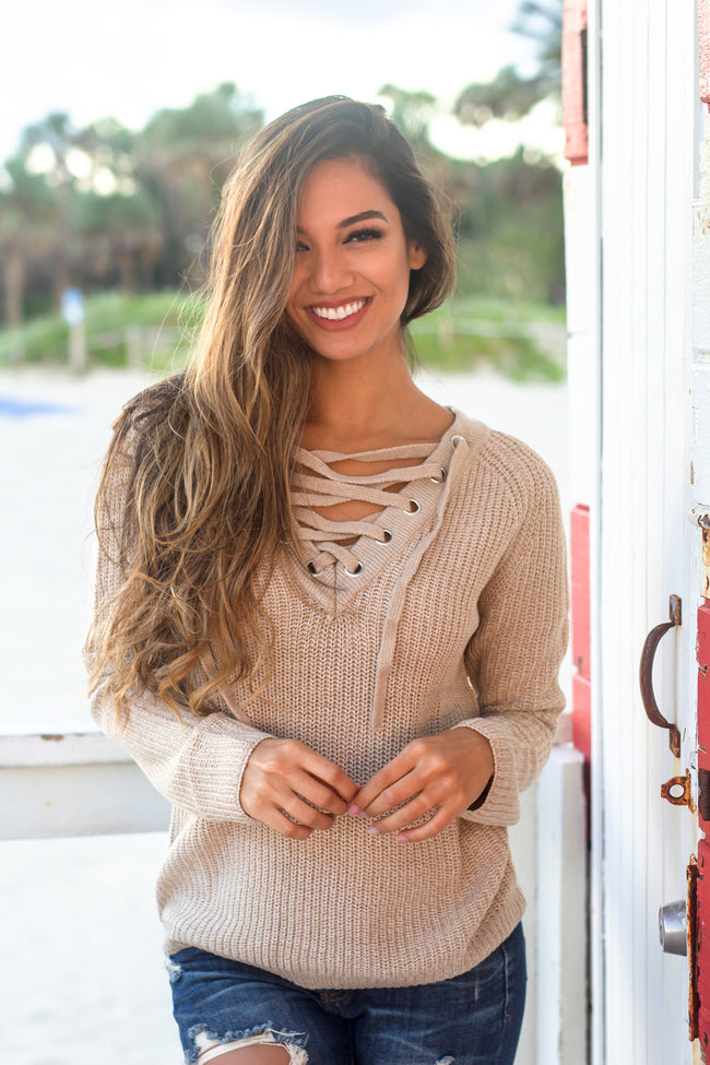 Brown Lace Up Knit Sweater