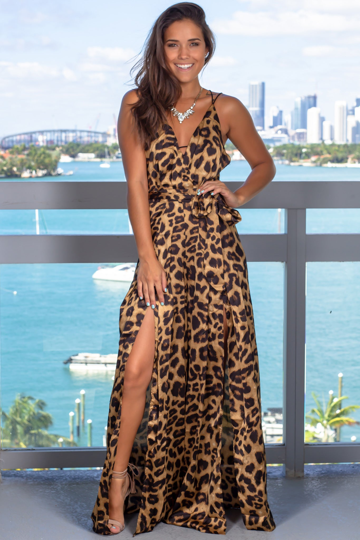 Brown Leopard Jumpsuit with Slits