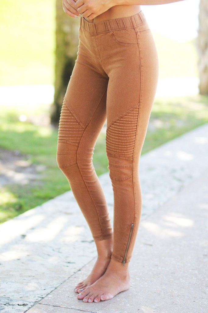 Brown Moto Jeggins with Ankle Zippers